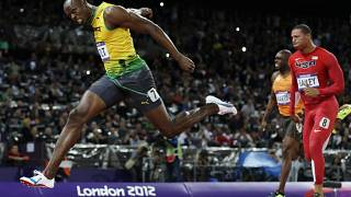 In this Aug. 5, 2012, file photo, Jamaica's Usain Bolt crosses the finish line to win gold in the men's 100-metre final in the Olympic Stadium at the 2012 Summer Olympics.