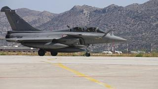 French Rafale fighter jet at Souda airbase on the island of Crete