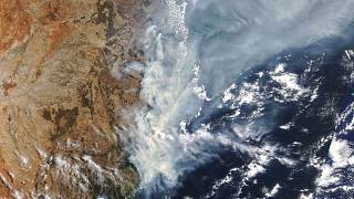 A NASA satellite photo shows the bushfires burning in New South Wales in November 2019