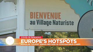 Sign welcomes people to the naturist village in France at the centre of a Covid outbreak
