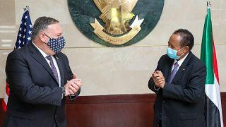 رئيس الوزراء السوداني عبد الله حمدوك مع نظيره الأمريكي مايك بومبيو