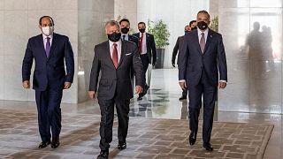 الرئيس السيسي ورئيس الوزراء العراقي الكاظمي والملك عبد الله