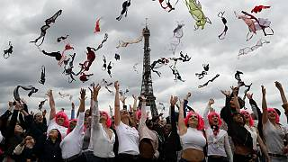 Tens of women throw their bras into the air as part of the annual Pink Bra Toss, in front of the Eiffel Tower, in Paris