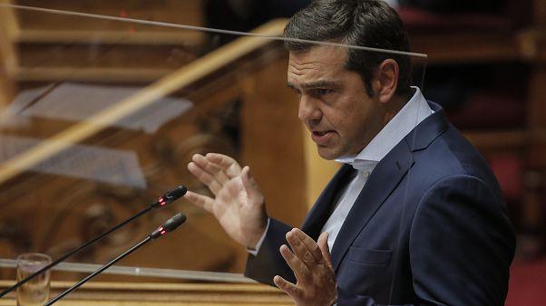 O Aλέξης Τσίπρας στο βήμα της Βουλής