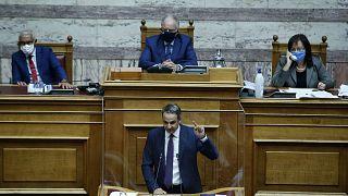 Yunanistan Başbakanı Kiryakos Miçotakis, parlamentoda konuştu