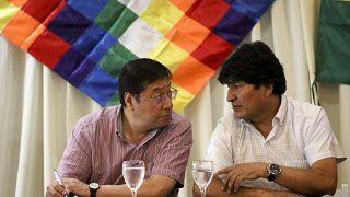 Luis Arce, candidat du MAS pour les élections générales boliviennes et Evo Morales, le 17 février 2020, à Buenos Aires, Argentine