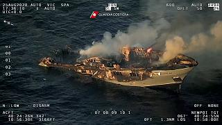 Ship sinking off Sardinian coast