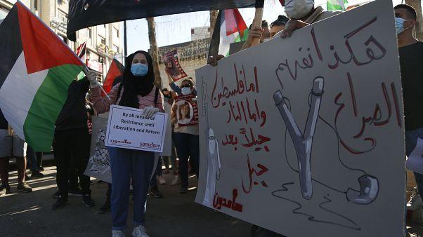 فلسطينيون يتظاهرون ضد التطبيع في رام الله. 2020/09/14