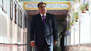 Tajik President Emomali Rakhmon arrives at a polling station in Dushanbe, Tajikistan, Sunday, May 22, 2016