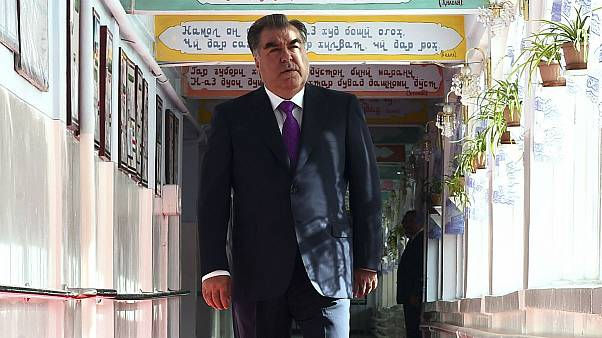 Tajik President Emomali Rakhmon arrives at a polling station in Dushanbe, Tajikistan, Sunday, May 22, 2016