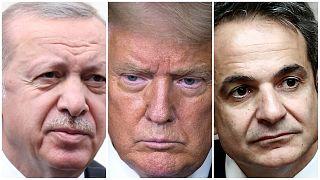 Türkiye Cumhurbaşkanı Erdoğan, ABD Başkanı Trump, Yunanistan Başbakanı Miçotakis
