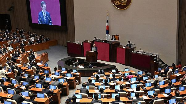 South Korea's President Moon Jae-in delivers a speech during the opening ceremony of the 21st National Assembly in Seoul Thursday, July 16, 2020