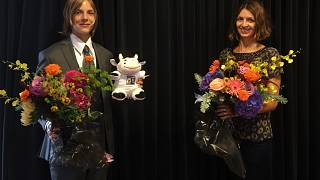 International Booker Prize winner Marieke Lucas Rijneveld and translator Michele Hutchison.