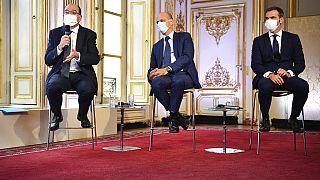 Jean Castex, Jean-Michel Blanquer et Olivier Véran, jeudi 27 août, à Paris, France