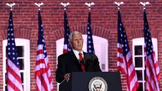 نائب الرئيس الأمريكي مايك بنس يتحدث خلال الليلة الثالثة للمؤتمر الوطني للحزب الجمهوري، بالتيمور، ماريلاند، 26 أغسطس 2020.