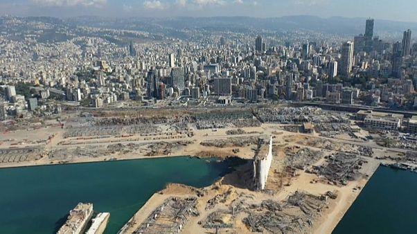 صورة جوية للدمار الذي خلفه انفجار مرفأ بيروت