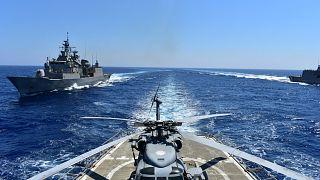 سفن حربية يونانية خلال تدريبات شرقي المتوسط