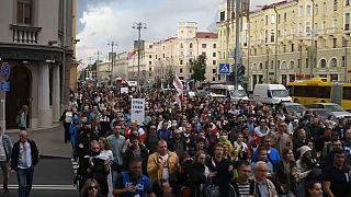 Manifestación en Minsk el miércoles 27 de agosto