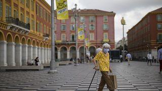 Place Masséna, à Nice, le 28 août 2020, France