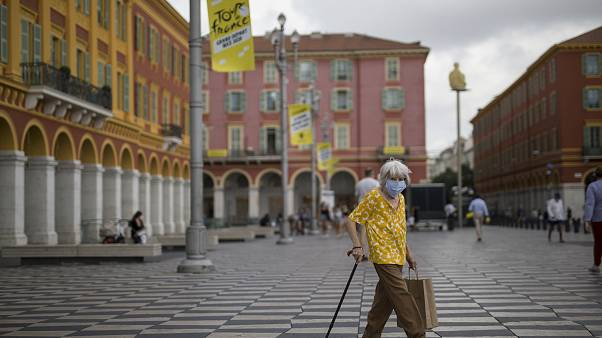 Place Masséna, à Nice, le 28 août 2020, France
