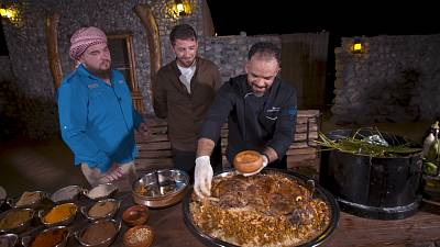 How to cook 'Lamb Ouzi' - a dish slow-cooked beneath the sand in Dubai