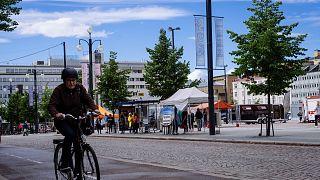 Un ciclista a Lahti, Finlandia
