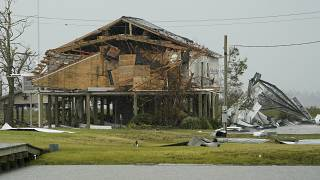 Un bâtiment endommagé en Louisiane