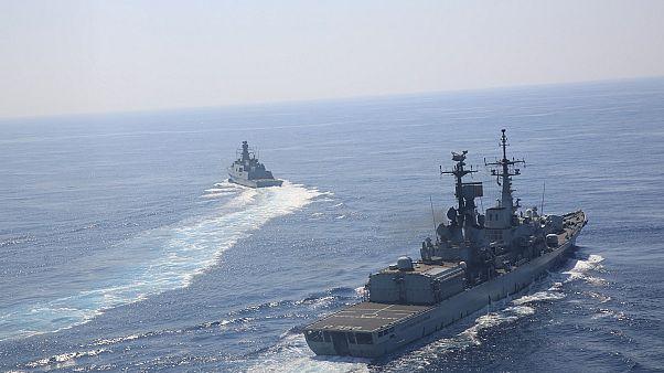 Doğu Akdeniz'de eğitim yapan Türk Donanmasına ait gemiler
