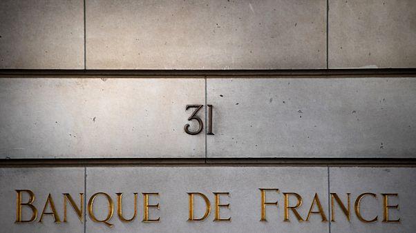 The Banque de France sign in Paris.