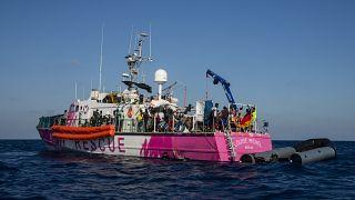 The Louise Michel rescue vessel in the Central Mediterranean sea, Saturday, Aug. 29, 2020.