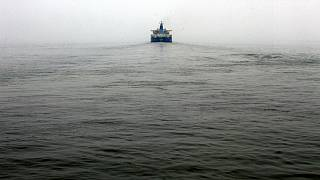 An oil tanker navigates through the bay near Zhoushan Oil Reserve in Zhoushan in Zhejiang Province, China