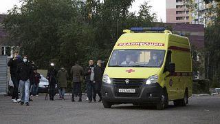 Транспортировка Алексея Навального из омской больницы скорой помощи