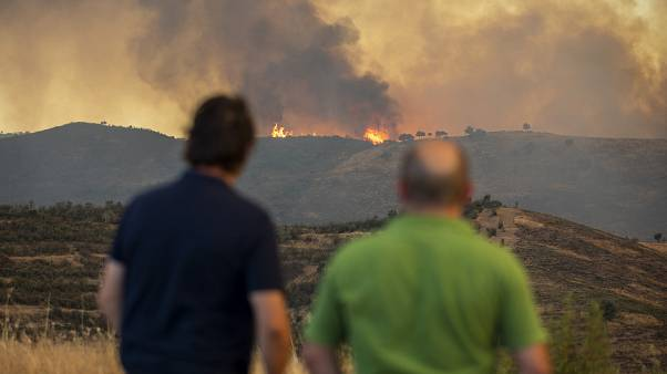 Wildfires advance in Almonaster la Real in Huelva, Spain.