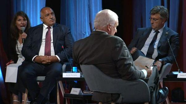 European leaders speak on a panel at an economic forum in Slovenia