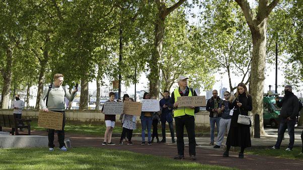 Protest gegen die Corona-Regeln in London im Mai