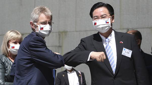 Czech Senate President Milos Vystrcil is greeted by Taiwanese Foreign Minister Joseph Wu at the National Chengchi University.