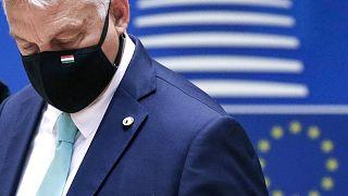 رئيس الةوراء المجري فيكتور أوربان يحضر قمة الاتحاد الأوروبي في بروكسل. 2020/07/18