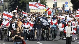جانب من احتجاجات المعارضة البيلاروسية في مينسك