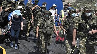 Meis Adası'ndaki Yunan askerler