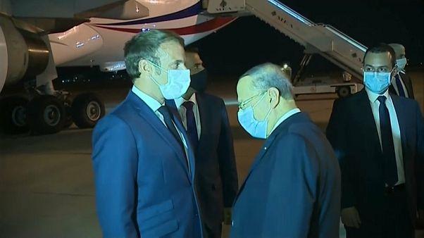 الرئيس الفرنسي إيمانويل ماكرون يصل إلى بيروت