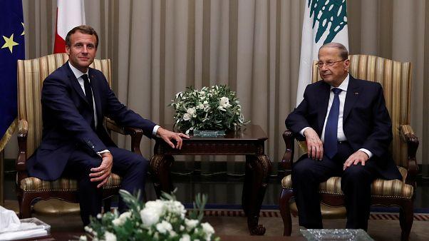 El presidente del Líbano, Michel Aoun, recibe a su homólogo francés, Emmanuel Macron