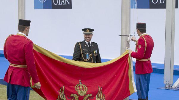 Флаг Черногории в штаб-квартире НАТО в Брюсселе