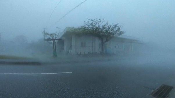 Typhoon Maysak sweeps over southern Japan
