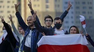 Протестующие в Минске 28 августа 2020