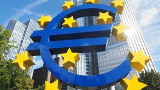 A sculpture representing the euro area.