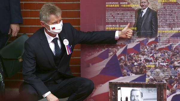 The Czech Senate President Milos Vystrcil gives a thumbs up to former President of the Senate Jaroslav Kubera after he delivered a speech in Taipei.