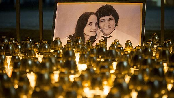 Light tributes are seen during a silent protest in memory of murdered journalist Jan Kuciak and his fiancee Martina Kusnirova in Bratislava, Slovakia.