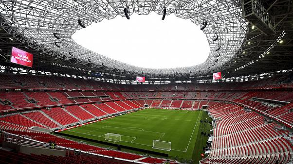 FILE: A general view of the Puskas Ferenc Stadium, Hungary's national soccer stadium on the day of its inauguration, Nov. 15, 2019 in Budapest.