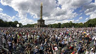 Protest rally in Berlin - Aug. 29, 2020 against new coronavirus restrictions in Germany.
