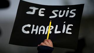 """A sign of solidarity following the terror attacks on Charlie Hebdo reading """"I am Charlie""""."""